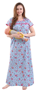 Fashigo Cotton Maternity Nighty for Women Feeding, Concealed Zip, Nursing Nighty/Maternity Dress for Post & Pre Pregnancy