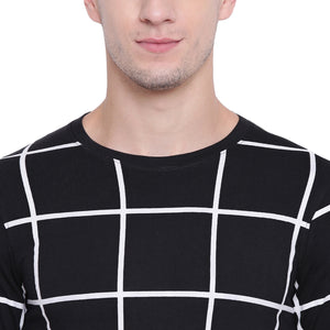 Cenizas Men's Cotton Full Sleeves Round Neck Checkered Tshirt/T-Shirt