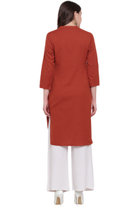 Cenizas Women's Straight Cotton Plain Kurti/Kurta