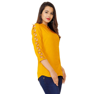 Cenizas Women's Shirt Top with Cage Sleeves