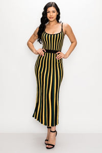 Mid striped maxi dress