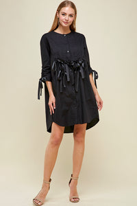 Black ribbon ruched tunic dress