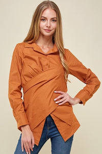 Crossover Long Line Blouse