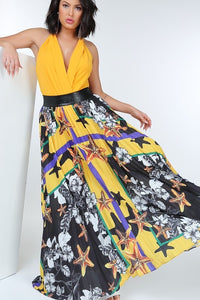 Maxi skirt with black leather waist band