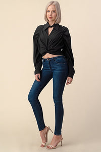 Black crop top collard blouse