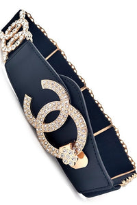 Chanel Inspired Black and Gold Rhinestone Belt