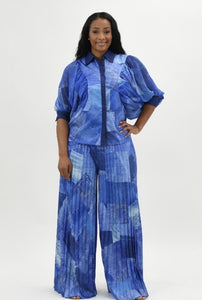 two-piece denim look pleated wide leg  pants and top