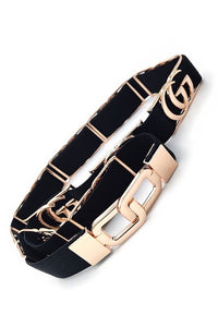 Gucci inspired stretch black and gold belt