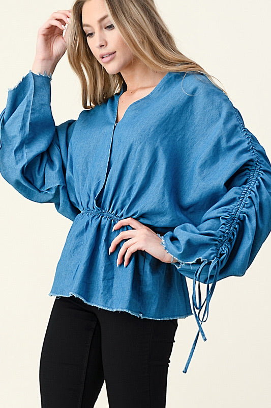 Denim Peplum long sleeve blouse