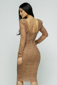 Nylon ruched long sleeve body con dress