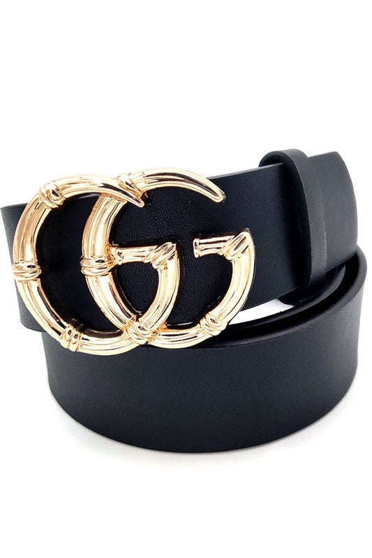 Gucci Inspired Black Belt Gold Buckle