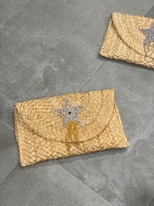 Natural Woven Envelope Clutch