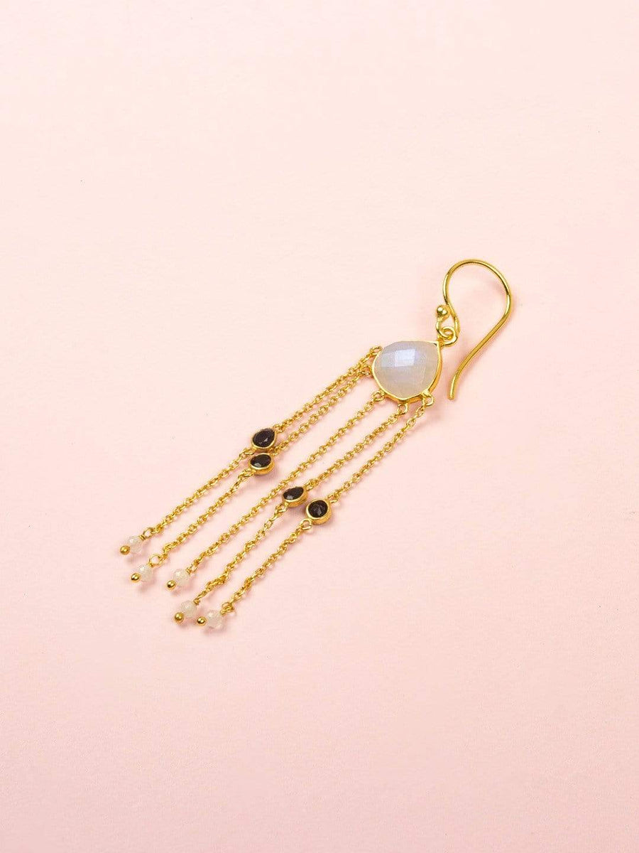 Arie Gold Plated Earrings with Uncut & Black Onyx Semi Precious Stones