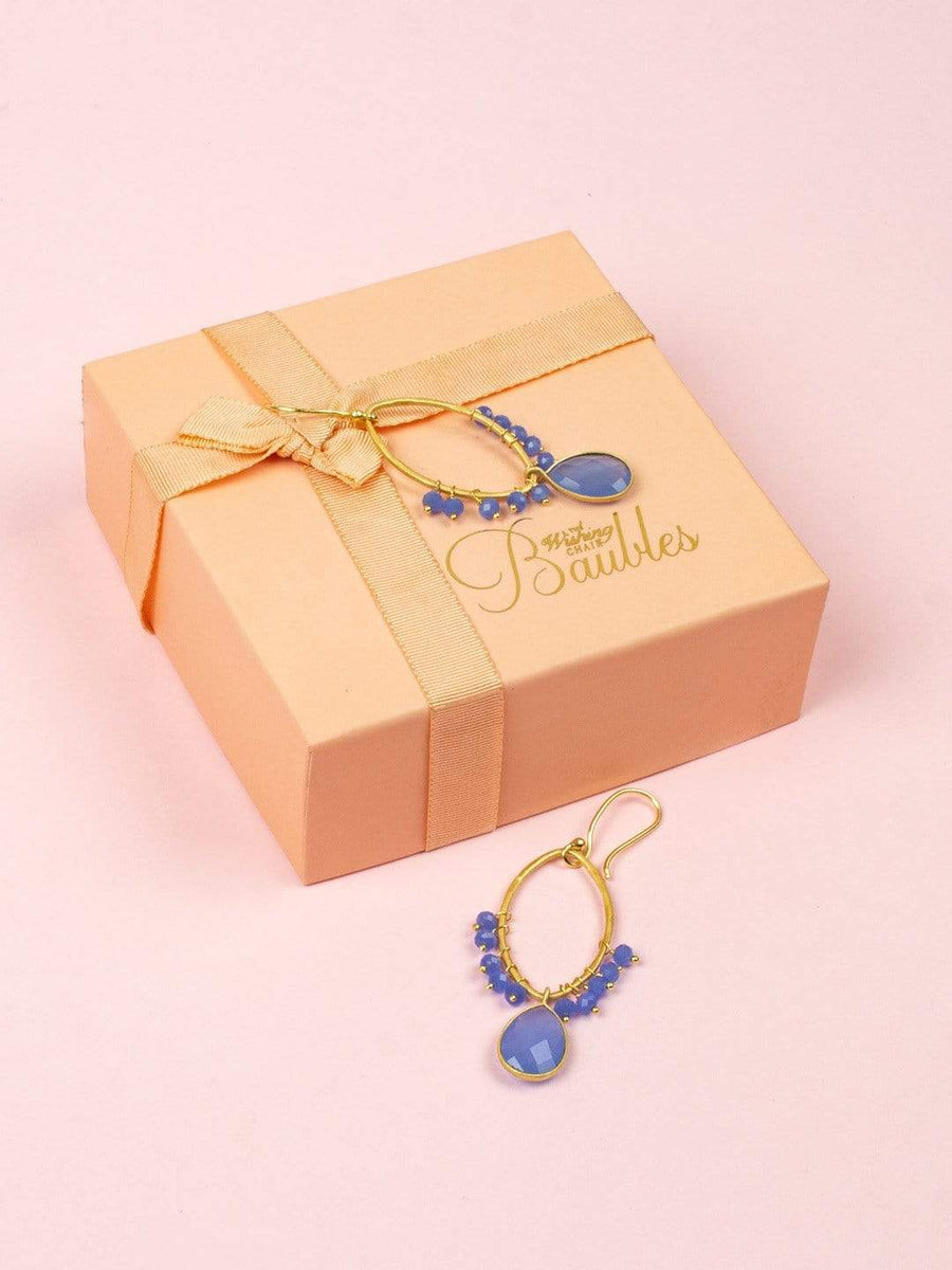 Bella Gold Plated Earrings with Blue Chalcedony Semi Precious Stones