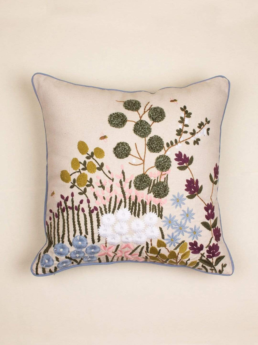 Gardenia Embroidered Cushion Cover