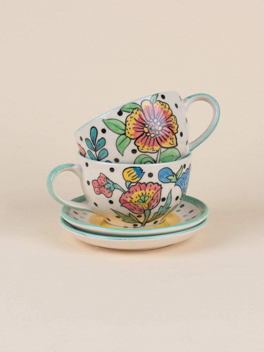 Kelly Green Handpainted Tea Cup & Saucer -Set of 2