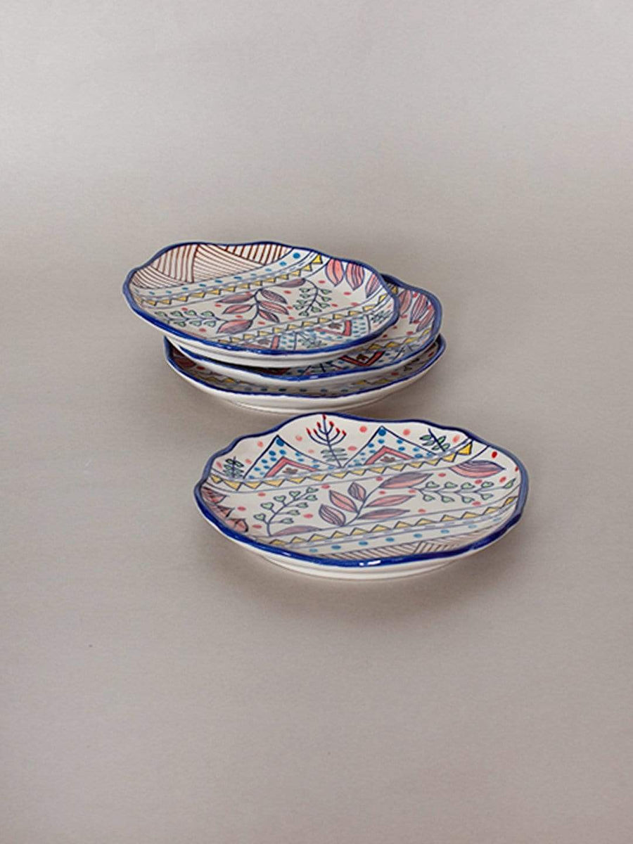 Magnolia Sky Handpainted Dessert Plates - Set of 4