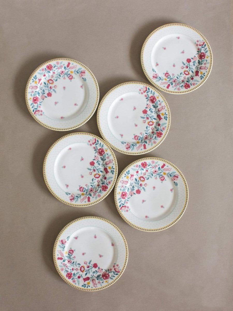 Raindrops and Roses Dessert Plate -Set of 6