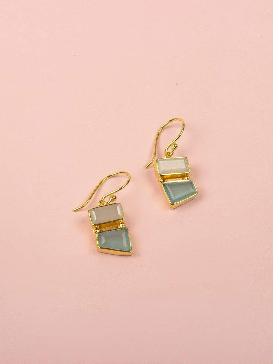 Tess Gold Plated Earrings with Moonstone & Aqua Chalcedony Semi Precious Stones