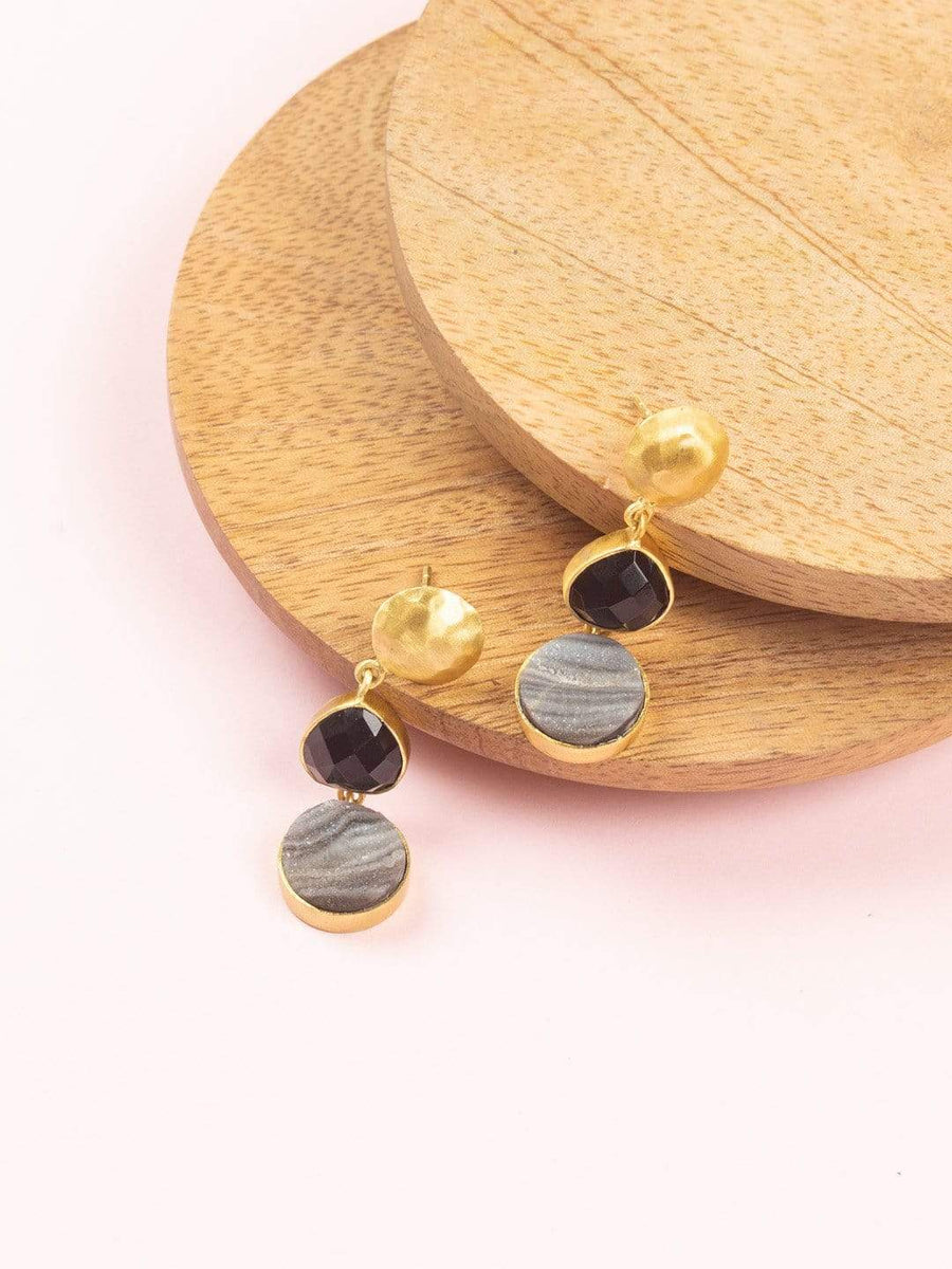 Zoe Gold Plated Earrings with Onyx & Druzy Semi Precious Stones