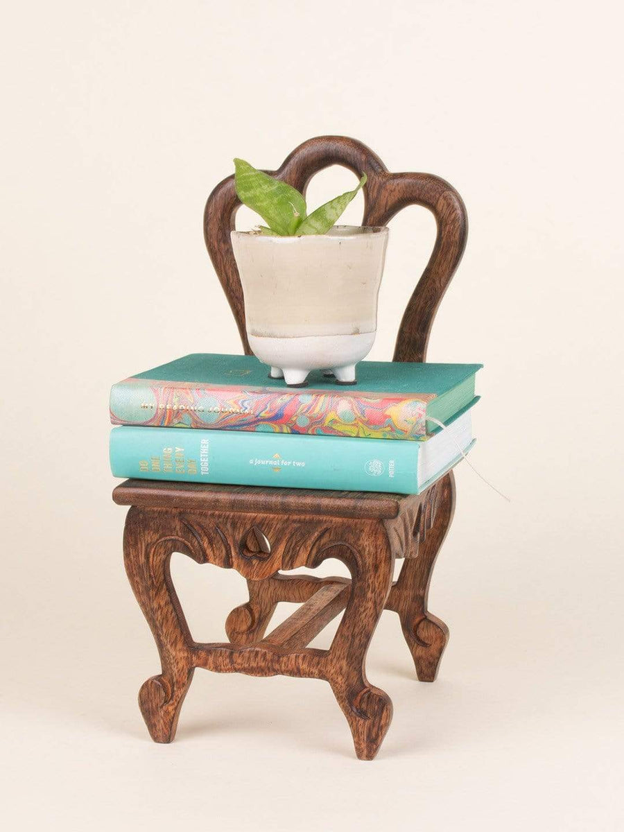 Alice Mini Chair Handcrafted Wooden Wall Shelf