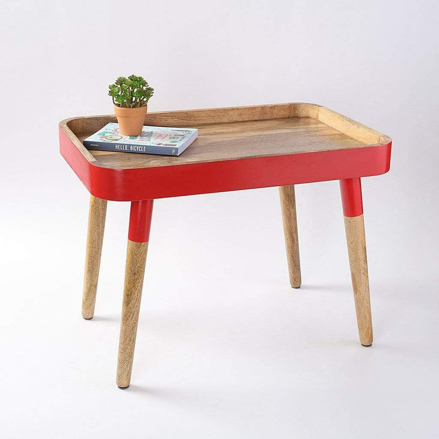 Bright Red Breakfast in Bed Tray Side Table