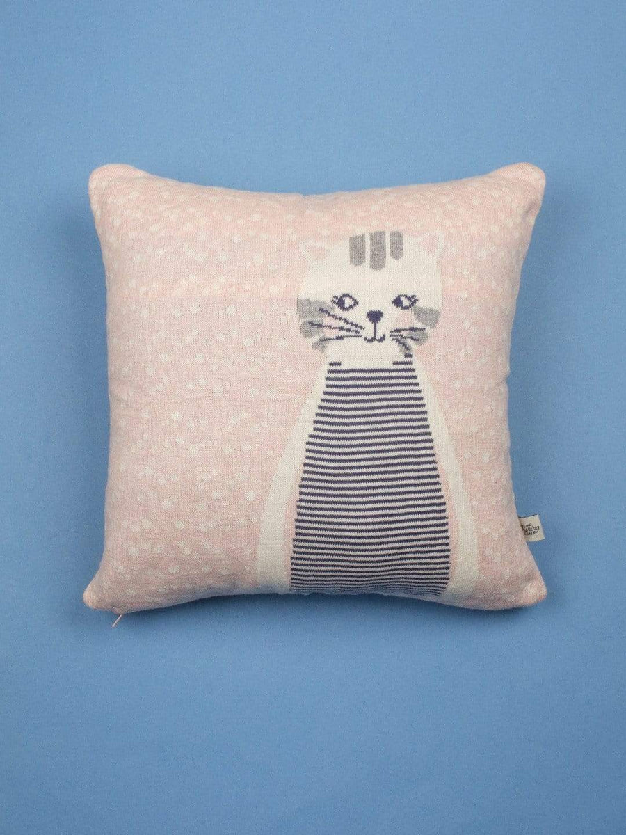 Cattitude Knitted Cotton Cushion Cover