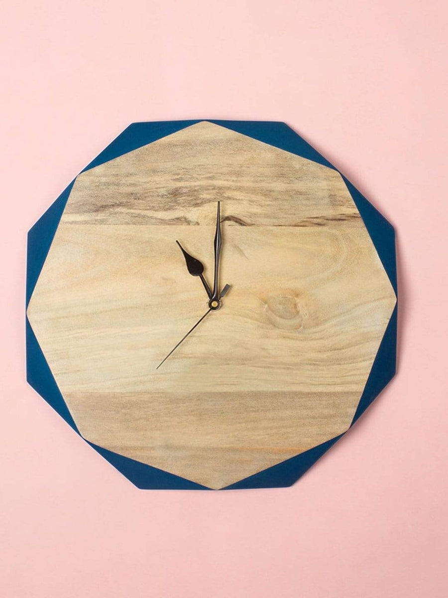Cerrulean Blue Wooden Faceted Clock