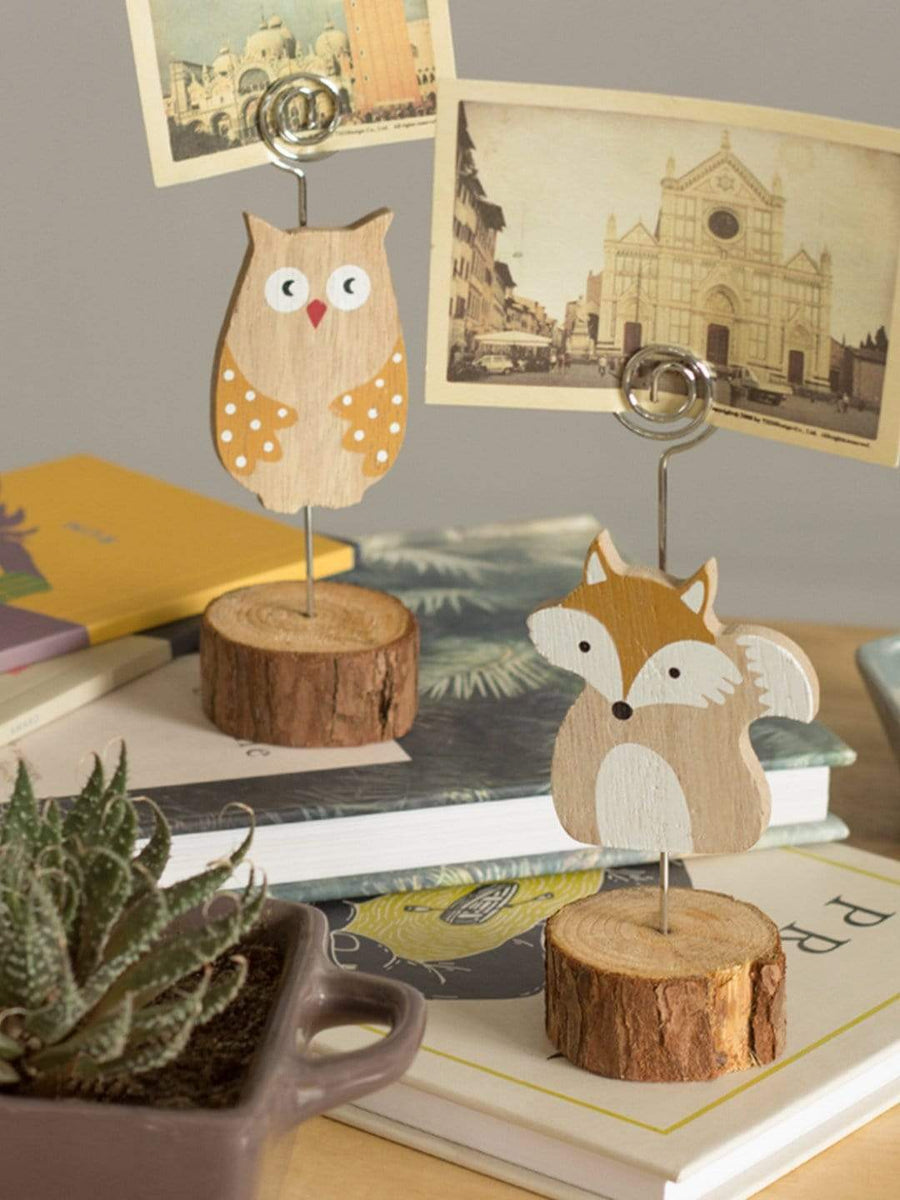 Clever Fox Wooden Card Holder