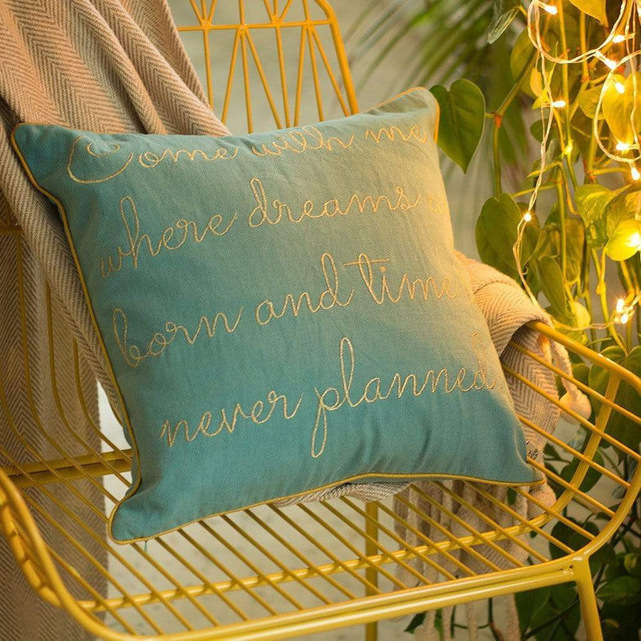 Come With Me Quote Cushion Cover