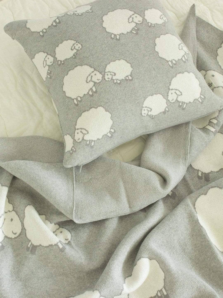 Counting Sheep Knitted Cotton Cushion Cover