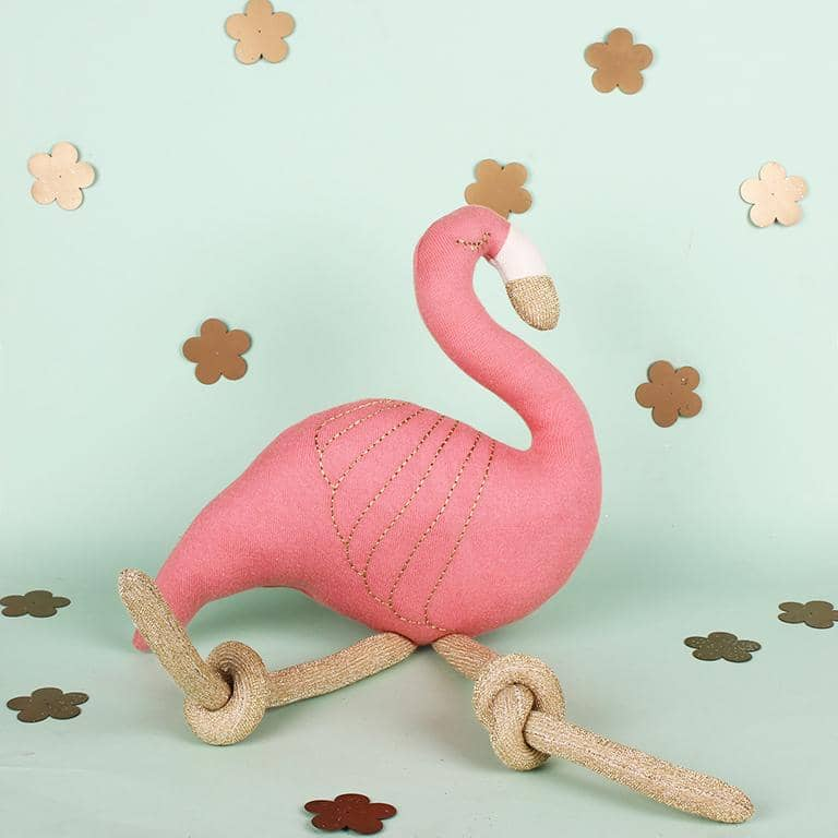 Flamingo Knitted Cotton Shaped Cushion