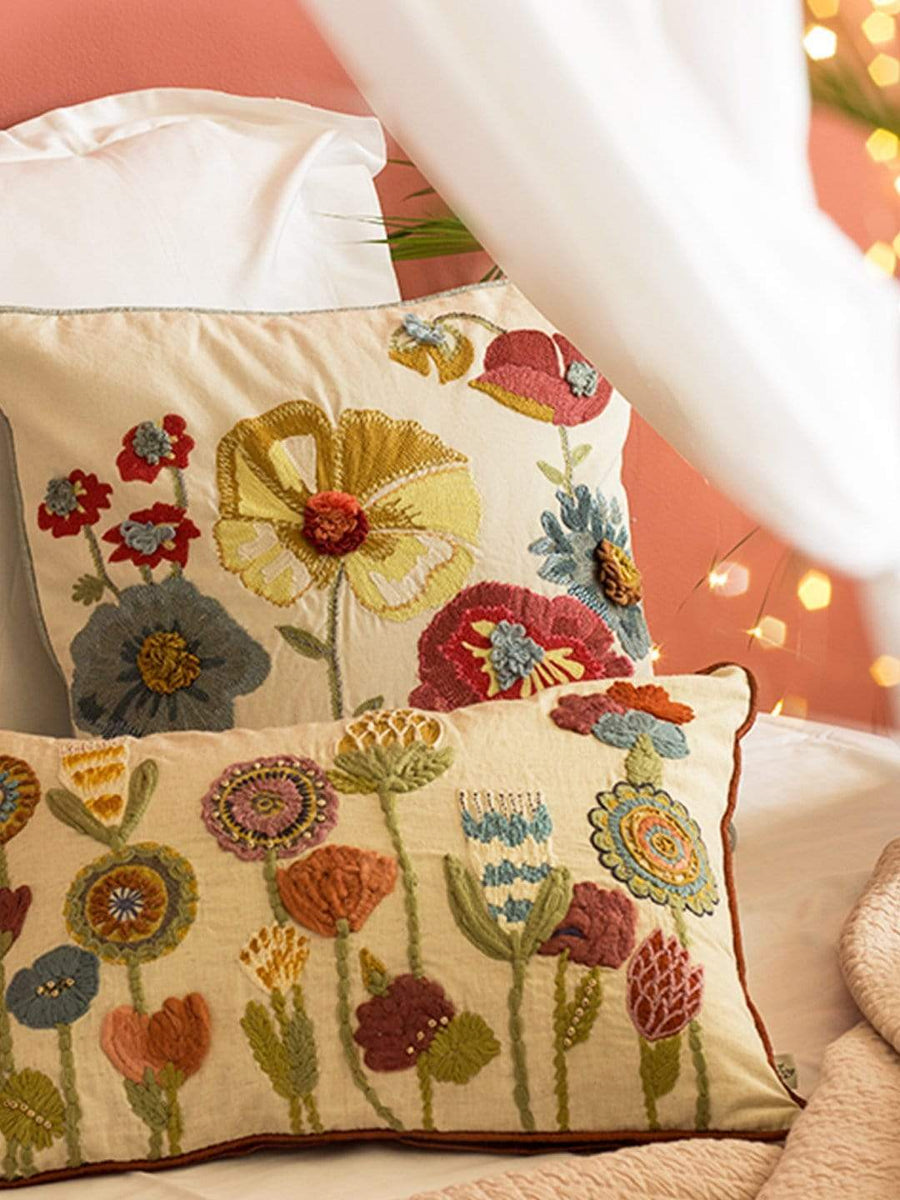Floral Melody Embroidered Cushion Cover -Square