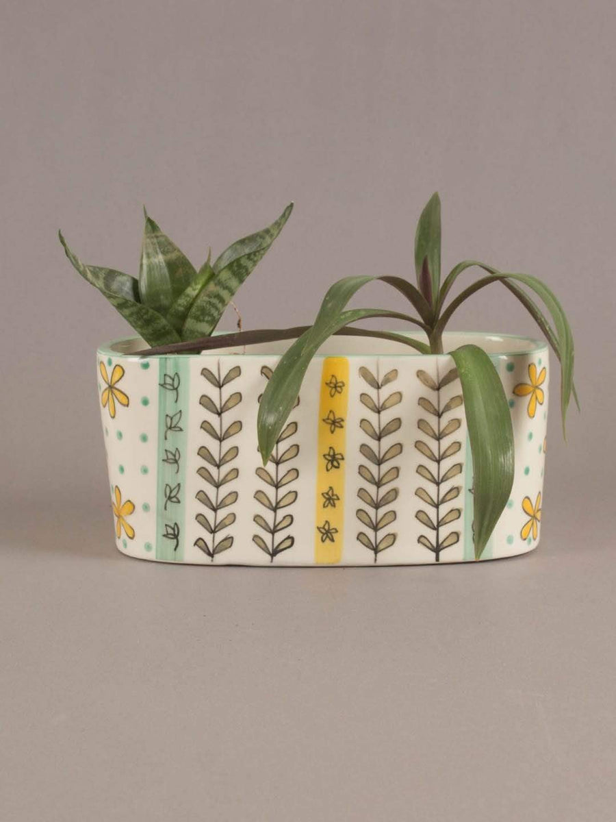 Green Garden Oval Planter