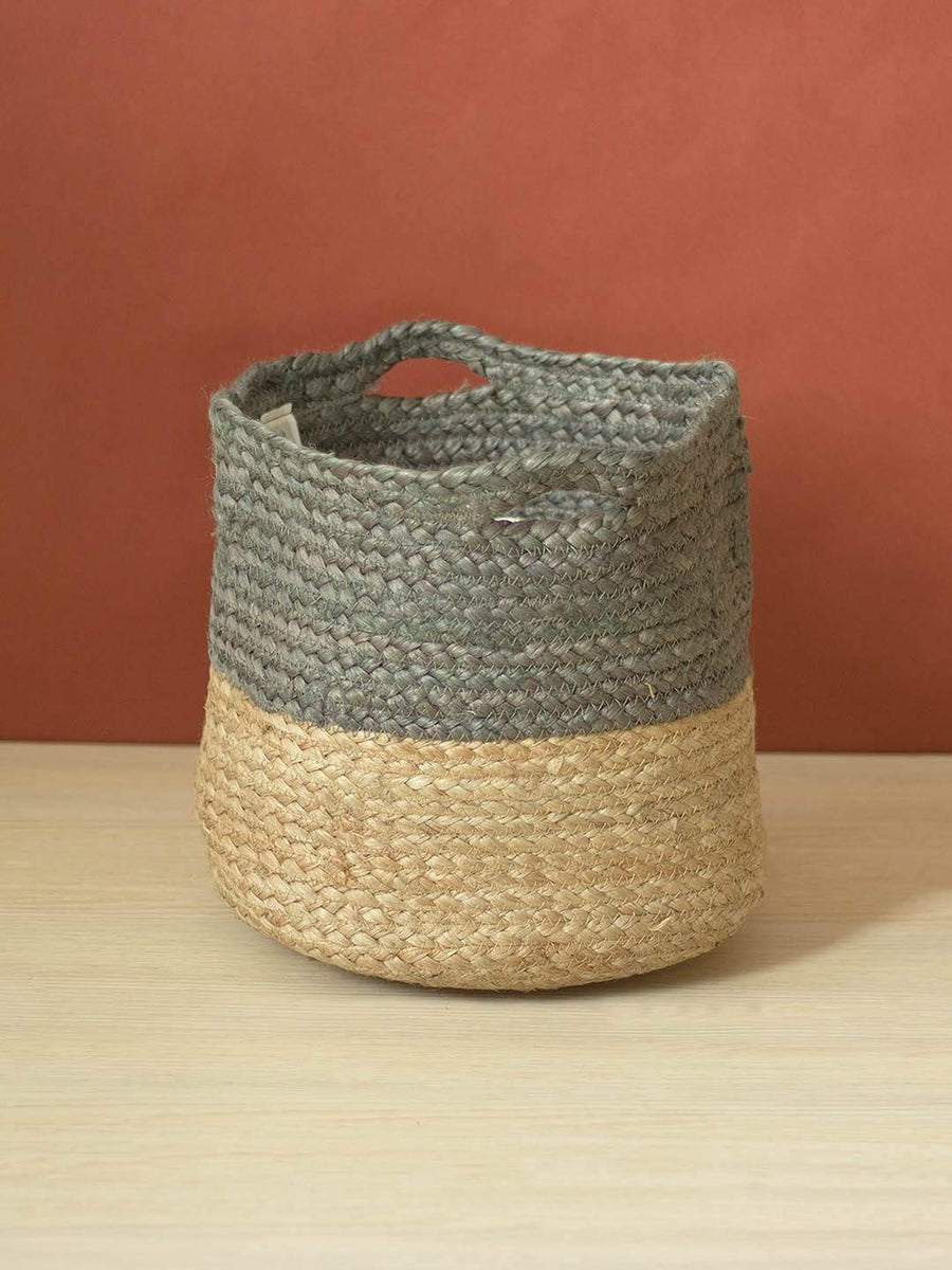 Grey Jute Storage Basket