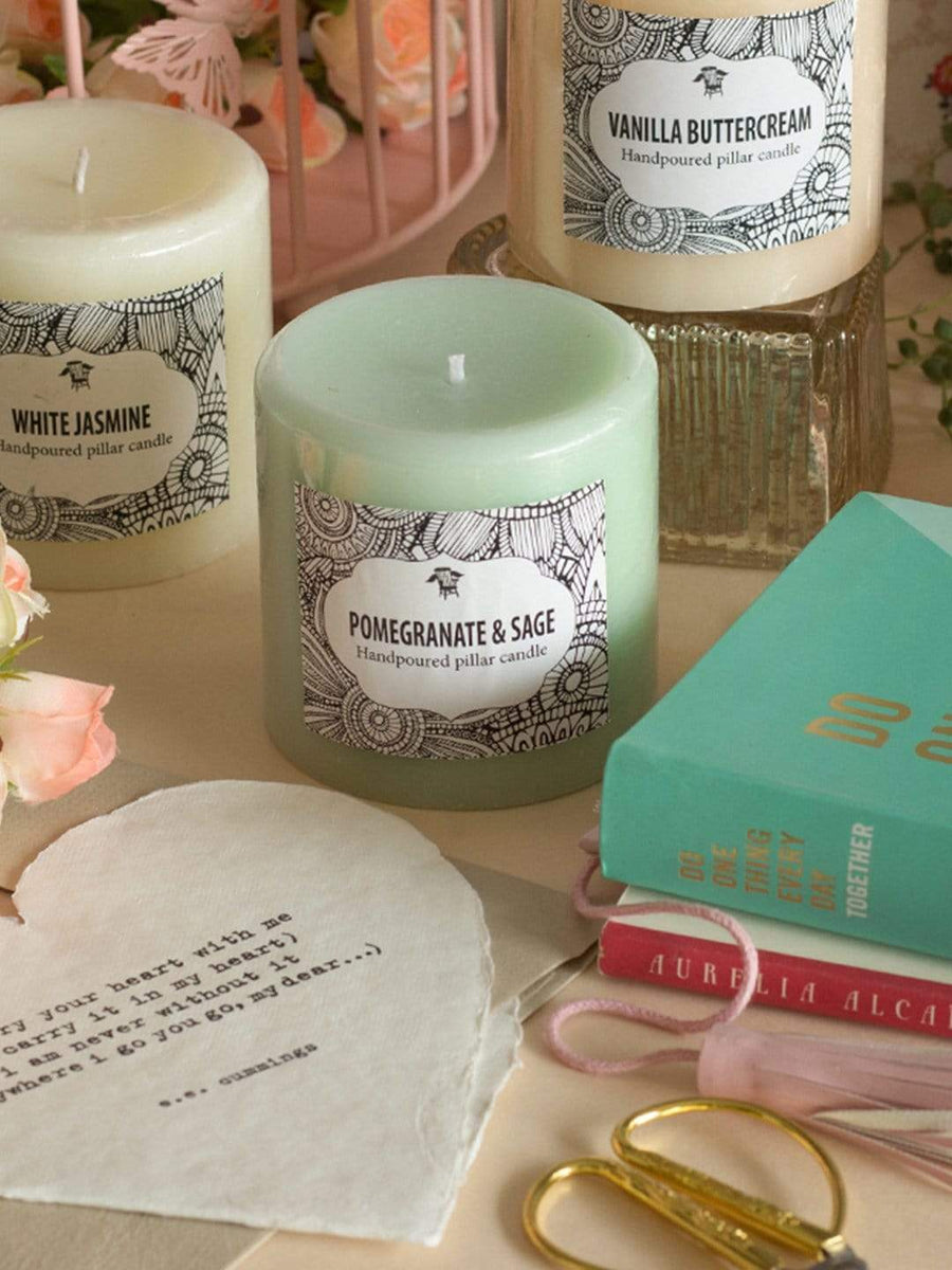 Handpoured Pillar Candle - Pomegranate & Sage