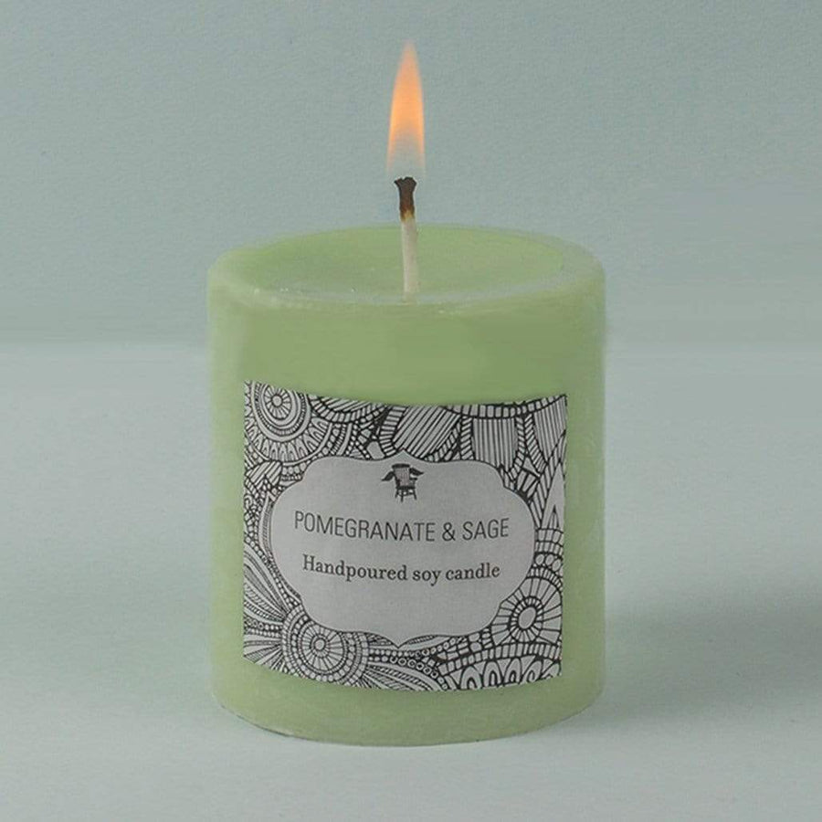 Handpoured Soy Pillar Candle / Pomegranate & Sage