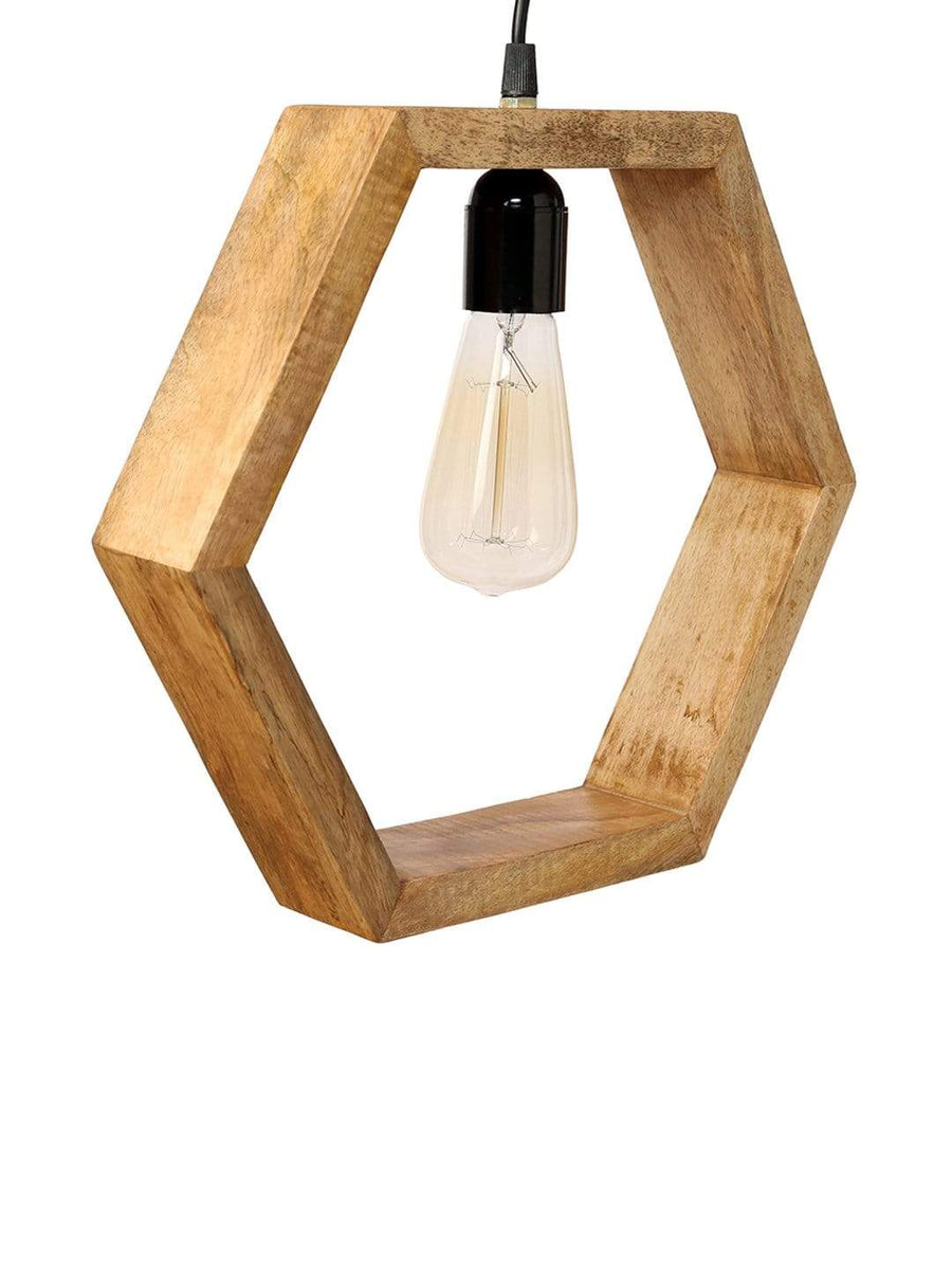 Hexagonal Wooden Hanging Lamp