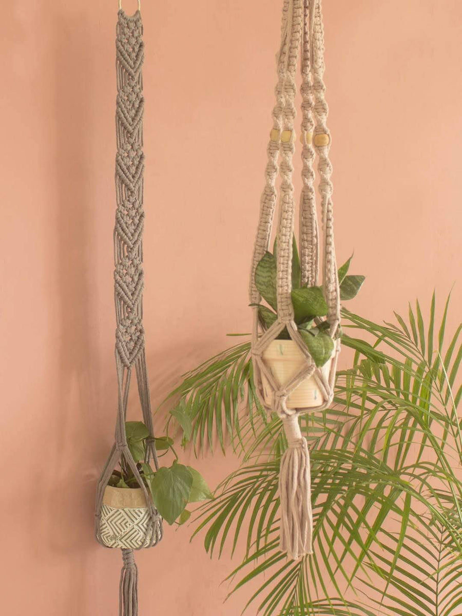 Lace Cable Macrame Wall Planter Holder