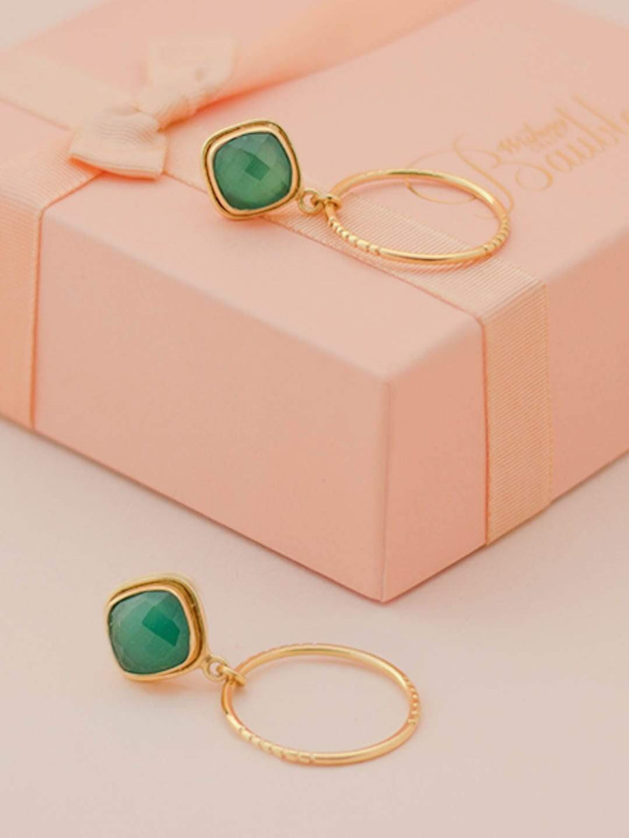 Lila Gold Plated Earrings with Green Onyx Semi Precious Stones
