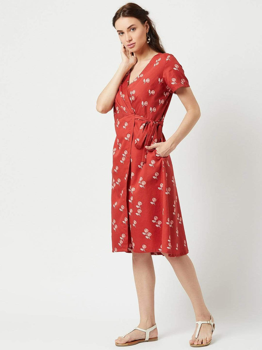 Meraki Wrap Dress Printed