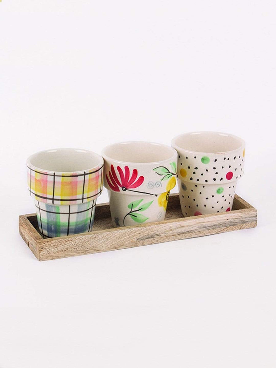 Miss Sunshine Planters with Wooden Tray -Set of 3