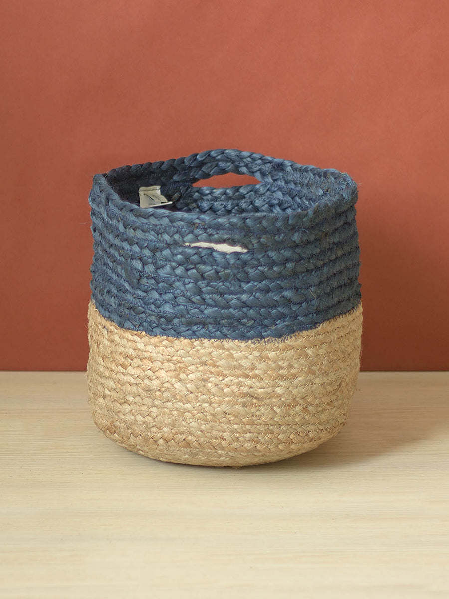 Navy Jute Storage Basket