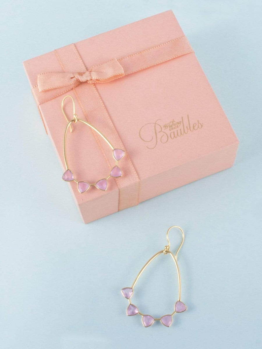 On a Whim Rose Chalcedony Gold Plated Earrings