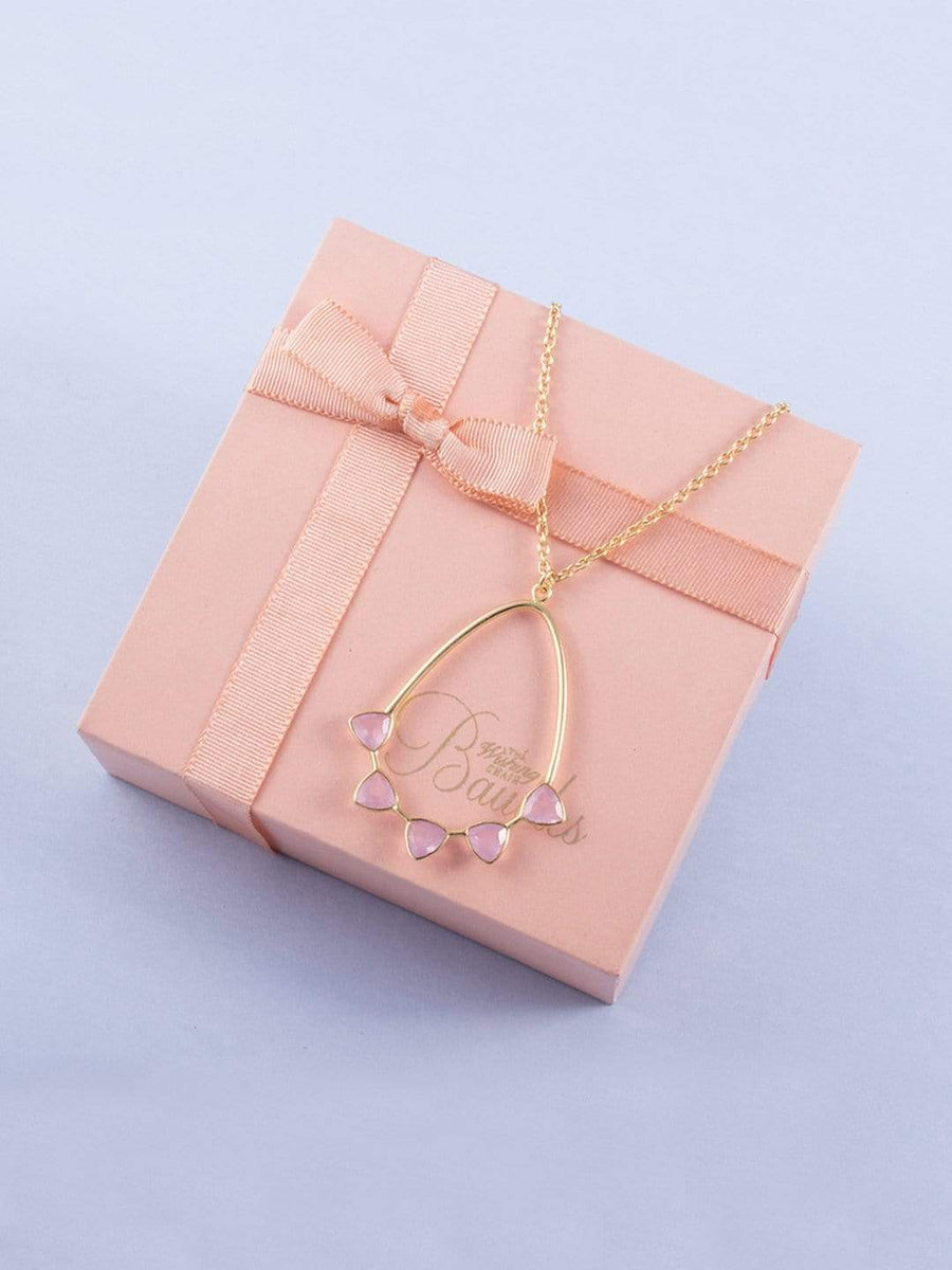 On a Whim Rose Chalcedony Gold Plated Necklace