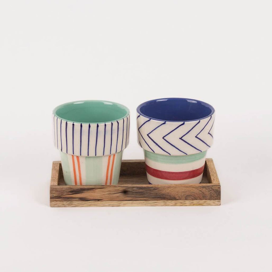 Planter – Set Of 2 With Wooden Tray