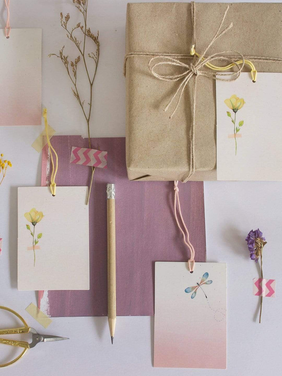 Pressed Flower Tags- Yellow- Set of 6