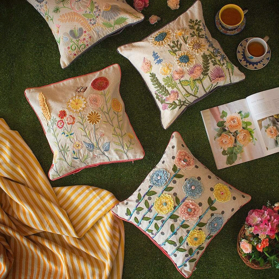 Ranunculus Embroidered Cushion Cover