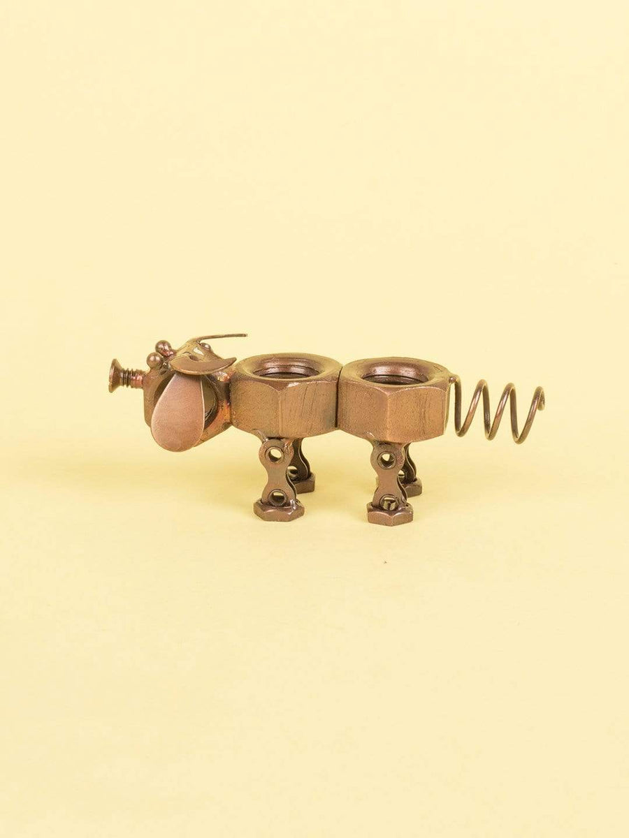 Recycled Decorative Cow- Copper Antique