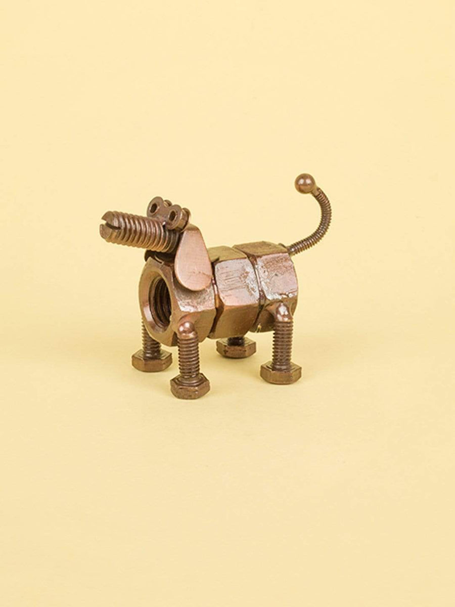 Recycled Decorative Dog- Copper Antique